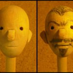 A prototype wooden head for creating different characters