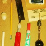 Tools and materials needed to make a basic wooden head