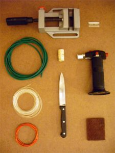 Tools and materials needed to weld the ends of a urethane belt