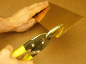 Cutting brass sheet with straight-cutting aviation snips