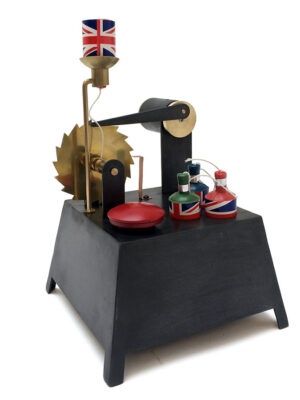 Machine to pull the string of a party popper