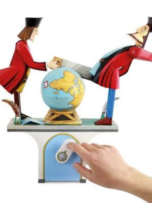 2 people sawing a globe in half, operated by handle