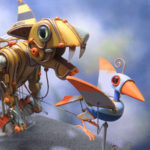 Mechanical yellow  cat chasing blue bird
