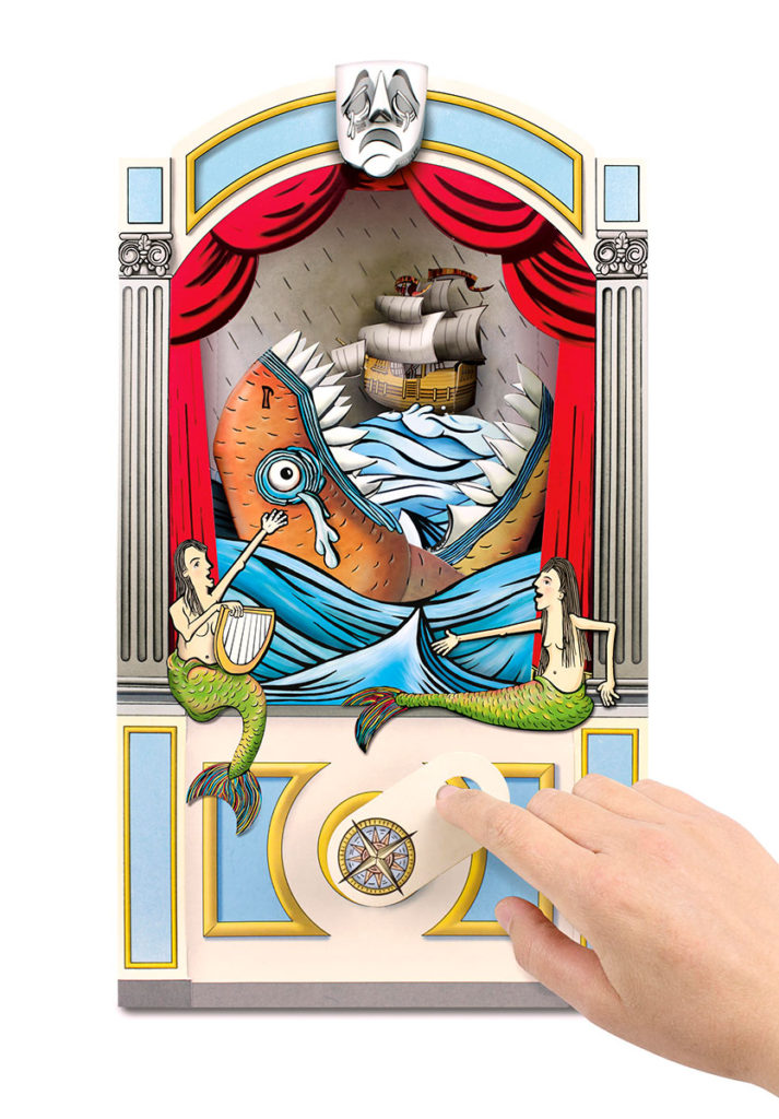 mechanical sea monster eating a boat in a curtained theatre. handle on front, mermaids either side.
