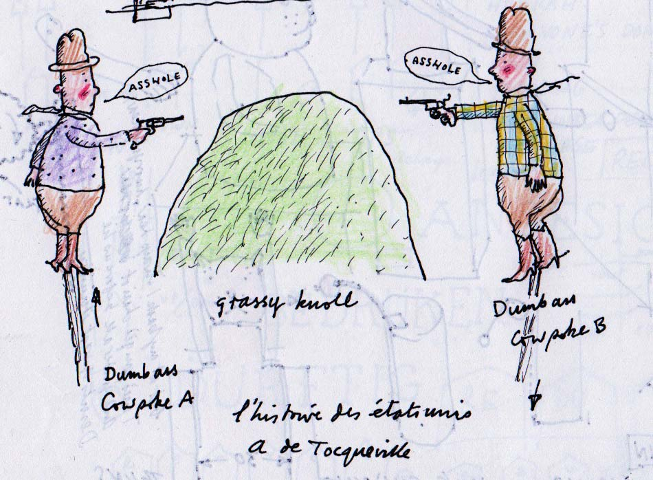 Drawing: 2 cowboys point guns at each other over a grassy knoll. They both have speech bubbles saying asshole and are labelled Dumbass Cowpoke A & B.